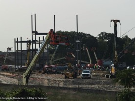Steel has started going up at the Amazon warehouse construction site.