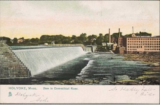 Postcard showing the completed third and final dam. Holyoke public library.