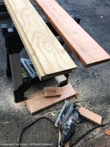"""In this case, the header is 2 2x8s with a piece of 1/2"""" plywood sandwiched in between. The plywood adds strength and makes the header 3 1/2"""" wide (the same width as a 2x4)."""