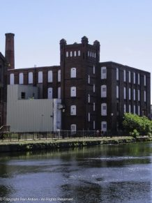 Ghost doors and windows in one of the old mill buildings along the second canal in Holyoke. MA.