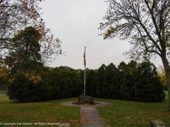 The memorial in Veterans Park is beginning to look like winter.