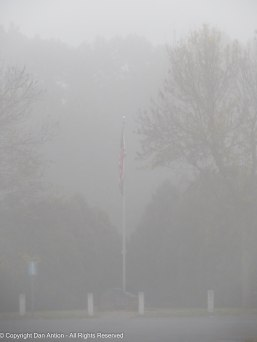 Dead still and encased in fog. The memorial is silent today.