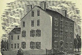 Historic drawing of the original Asylum for the Deaf.