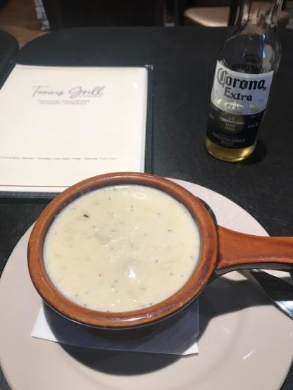 Clam chowder and Corona.