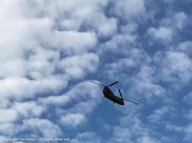 Chinook overhead - those twin rotors get your attention.