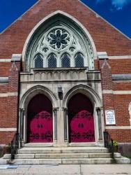 Main entrance of the Asylum Hill Baptist Church.