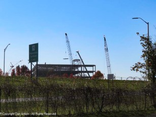 As much as I like cranes. It's still kind of disturbing that almost a dozen tobacco barns were destroyed to build this.