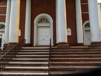 One of the entrance doors to First Church.
