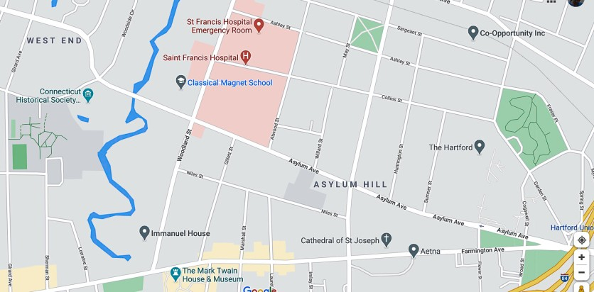 """Center on left edge is the Connecticut Historical Society. My walk was on Asylum Ave, covering the four blocks around the text """"Asylum Hill."""""""