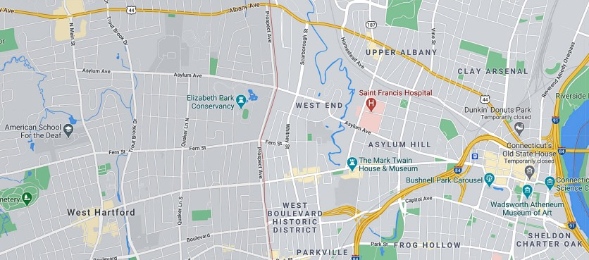 """The area of the original school was near the word """"Asylum"""" in Asylum Hill. The new school is on the far left."""