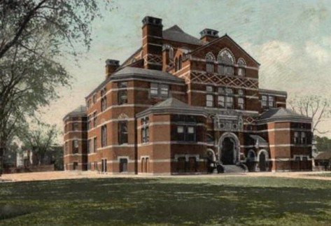 A postcard showing the original West Middle School building.