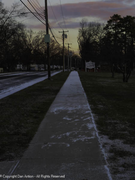 We had a brief snow squall just before we left for our walk.