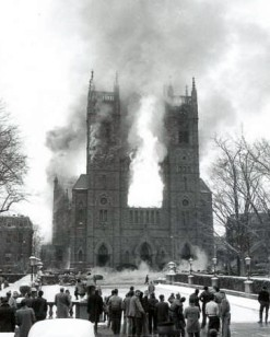 Historic photo - the fire that consumed the original St. Joseph's Cathedral.