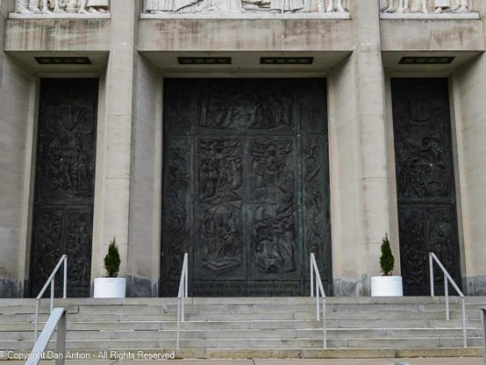 Door details of main entrance to St. Joseph's Cathedral.