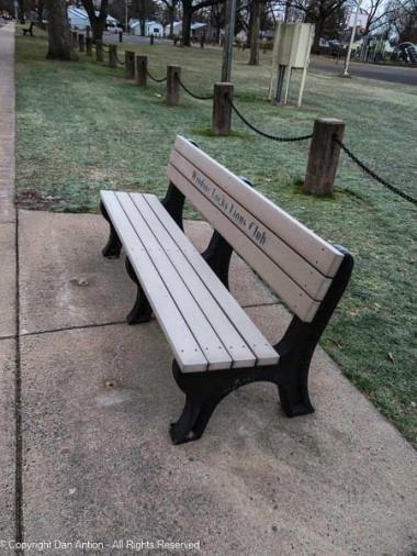 It's hard to tell, but that bench is covered with frost.