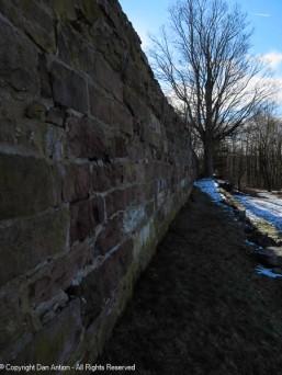 Along the back wall that Newgate Prison