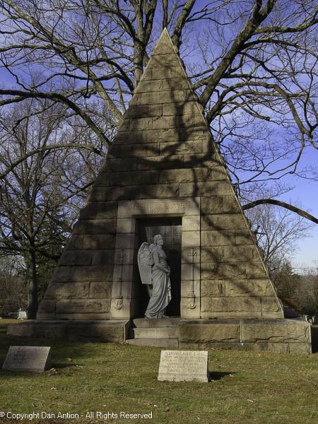 This 18-foot granite pyramid marks the grave of insurance executive Mark Howard,