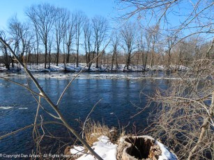 The Farmington River is downstream of a flood control dam. It rarely freezes in this section.