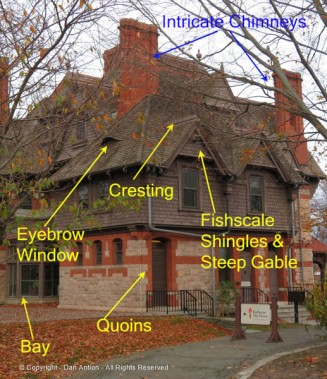 Not mentioned here, but the plain windows are also common to Victorian houses.