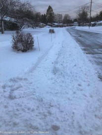 One of my neighbors gave me a head start on the sidewalk. He made a pass Monday evening.