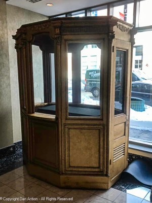 """This is the original (restored) ticket booth. This used to sit outside in the """"weather lobby"""" a covered area recessed into the building, but not behind exterior doors as today."""