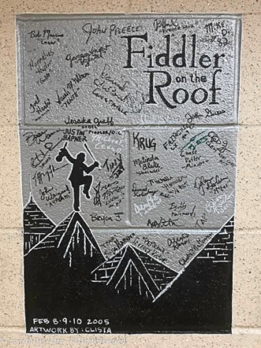 One of the classics. Every production cast and band has been invited to paint their names on the walls of the lower level where the dressing rooms are.