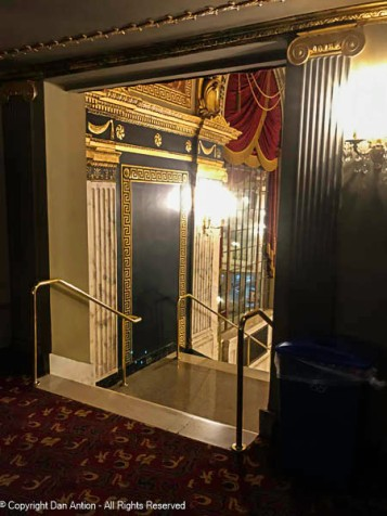 This door leads from the mezzanine lobby to the main staircase.