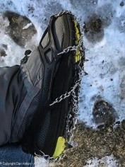Micro-spikes. A Christmas gift a few years ago from our daughter. This is how we handle the ice.