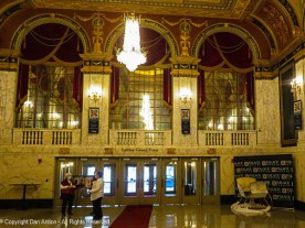 """The street entrance to the theater. The space between the two sets of doors is the """"Weahter Lobby"""" where you would have originally purchased tickets. The exterior doors were not part of the theater."""