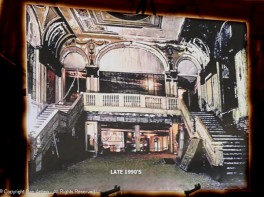 The main theater lobby after the fire next door (in The Rectory) and before the restoration began.