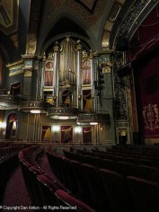 There was an organ in the original theater, but those pipes are fake. They are for decoration only.