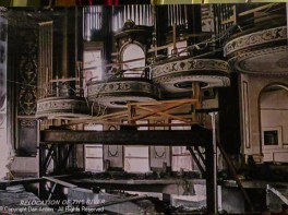 This picture is of a enlargement of a an original photo of the effort to divert the Mad River from under the orchestra pit.