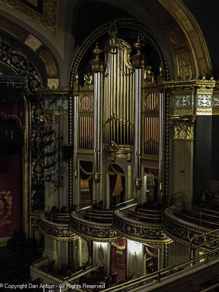This is the image of the decorative organ pipes on the right side of the seating area. You can see the doors to the boxes.