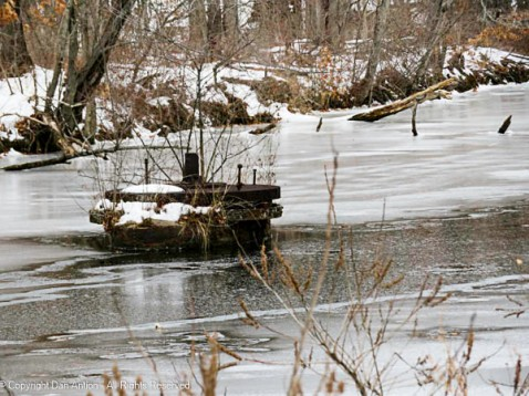 Remnant of an old swing bridge over the Windsor Locks Canal.