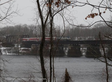 AMTRAK loco pulling CT Rail's Hartford line across the Connecticut River.