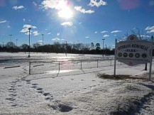 More of Maddie's park is becoming available but it's still frozen.