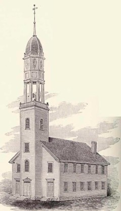 Historic illustration of the Congregational church in 1796. That's the typical Meetinghouse style.