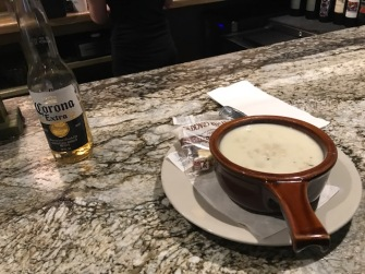 The bar has the best clam chowder around here.