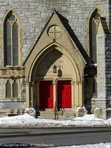 Front entrance to St. John's Episcopal Church.