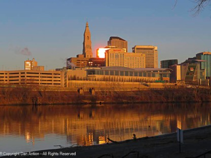 Buildings of many generations. At one time, the Traveler's Tower was the tallest structure in Connecticut. It remains beautiful. The building along the river is our new Convention Center.