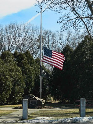 The flags are at half staff as a mark of solemn respect for the victims of the senseless acts of violence perpetrated on March 16 in the Atlanta metropolitan area.