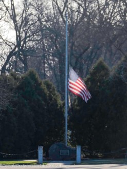 Even at half staff, she waves for all of us.