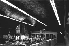 """Newspaper offices in the """"second"""" floor that was built above the entrance doors in the main terminal. At least they left the ceiling intact."""