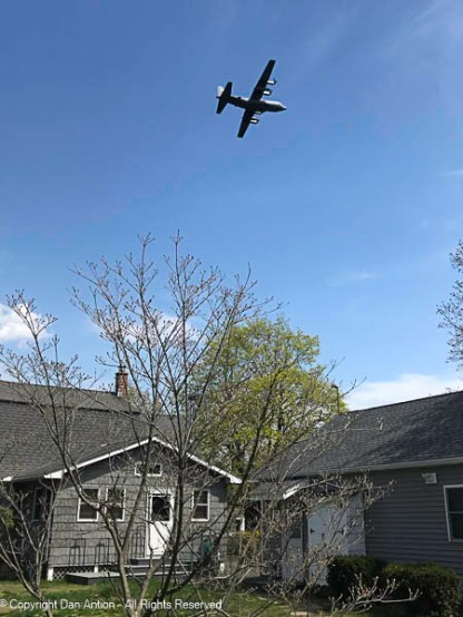 C-130 taking off over our yard. You tend to notice these guys.