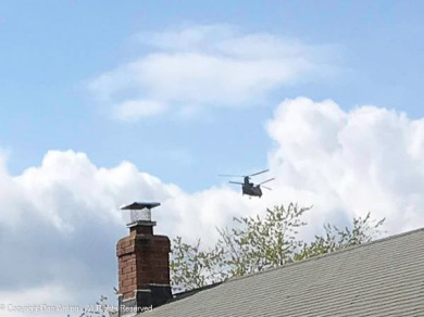 CH-47 Chinook departing our air space. (See video for complete pass).