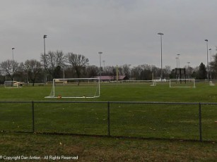 The fields are ready for soccer practice.