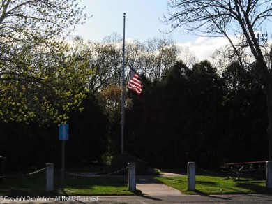 The flag is back to full staff today (Tuesday) but was at half staff on Monday.