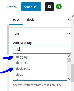 Start typing to bring up previous tags.