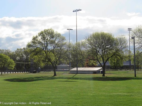 The ball fields have seen activity and have been cut and groomed.