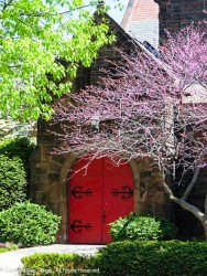 Beautiful red doors and black iron hinges.
